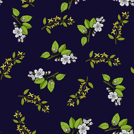 Spring blossom seamless pattern with apple branch and forsythia, vector illustration Illustration