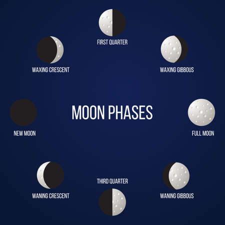Lunar phases from new moon to full. Vector illustration Ilustrace