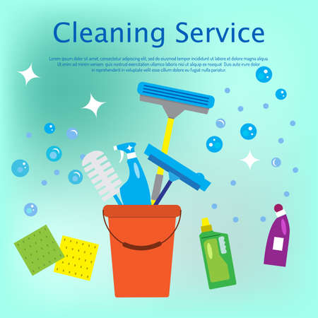 Cleaning service concept flat style vector illustration