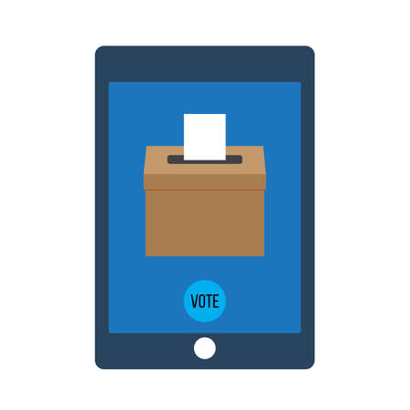 Smartphone with voting app on the screen, flat style vector illustration