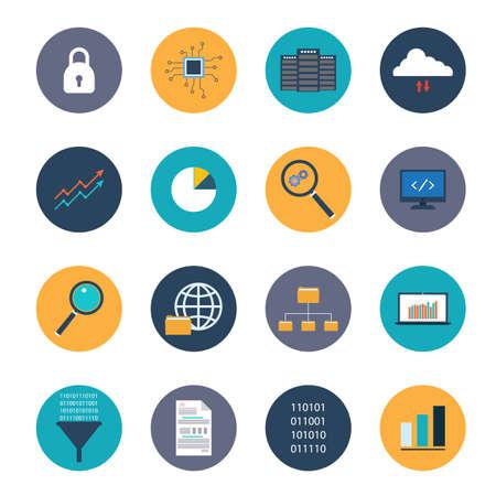 Data analysis icons set. Flat style vector illustration