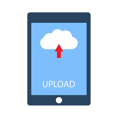 Tablet with upload button on screen. Flat style vector illustration Stock Illustratie