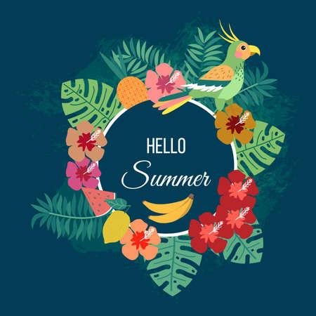 Floral summer background with tropical leaves and parrot. Vector illustration Vektorgrafik