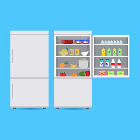 Closed and opened refrigerator with food and drink, fruits and vegetables. Vector Illustration