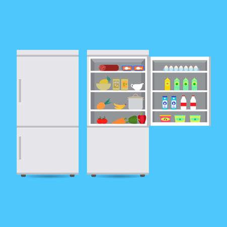 Réfrigérateur fermé et ouvert avec nourriture et boisson, fruits et légumes. Illustration vectorielle