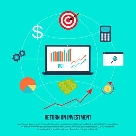 Return on investment concept, ROI, business profit Illustration