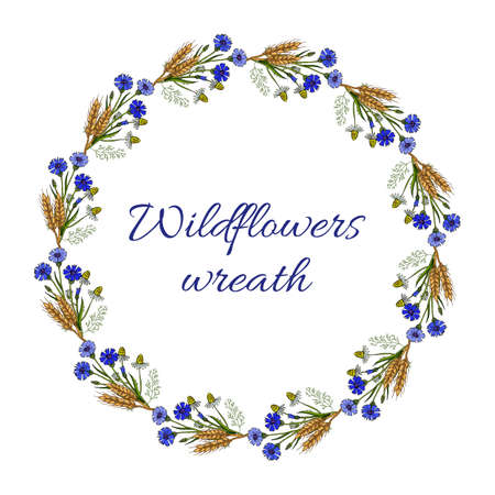 Summer floral wreath with cornflowers, chamomiles and ears. Vintage greeting card. Vector illustration