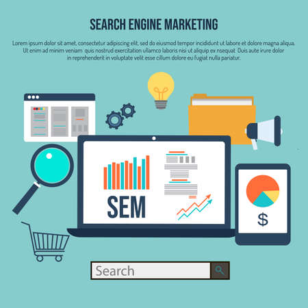Search engine marketing, flat style design concept. Vector illustration