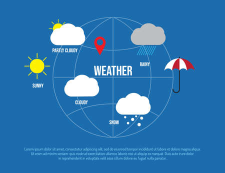 Weather condition and meteorological forecast icons. Vector illustration. 向量圖像
