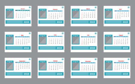 Calendar 2019. Vector template. Week starts on Sunday Vetores