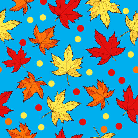 Autumn seamless pattern with hand drawn maple leaves. Vector illustration.