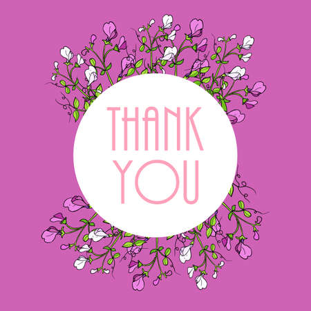 Thank you cards with beautiful sweet pea flowers. Vector illustration