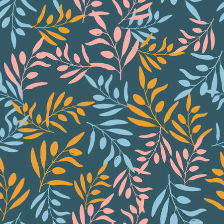 Seamless olive branch pattern. Hand drawn vector illustration Ilustracja
