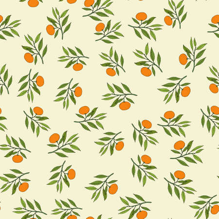 Mandarin branch seamless pattern. Hand drawn vector illustration Ilustração