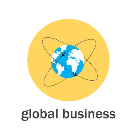 Global business icon flat style. Vector illustration