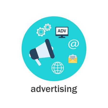 Pubblicità digitale con l'icona dell'altoparlante. Illustrazione vettoriale di stile piatto