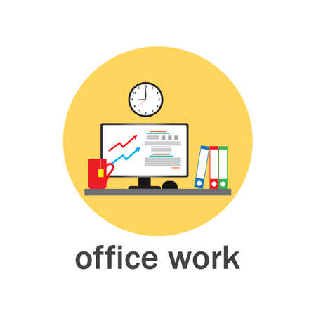 Office work icon. Flat style vector illustration