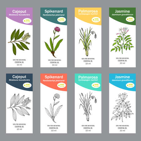 Set of essential oil labels