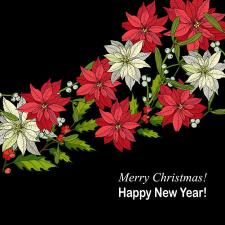 Merry Christmas and Happy New Year greeting card, banner with holly, poinsettia and mistletoe vector illustration