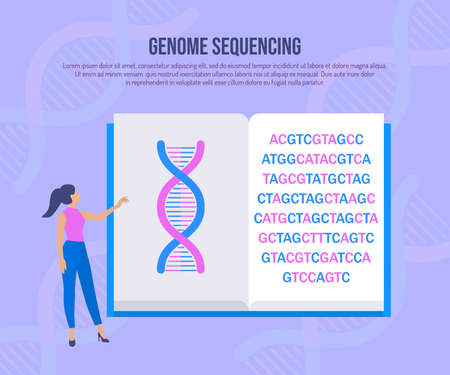 Genetic engineering and genome sequencing concept Illustration