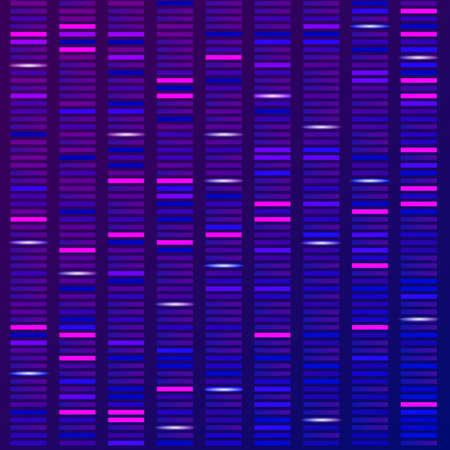 Visualizzazione della struttura della scienza del genoma, sfondo del test del DNA. Illustrazione vettoriale Vettoriali