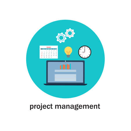 Business project management icon. Flat style vector illustration Banco de Imagens - 124926066