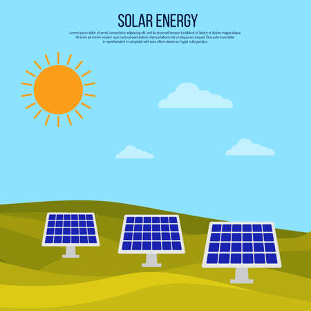 Green energy background with solar panels Standard-Bild - 124891871
