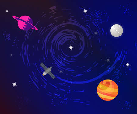 Space flat background with planets and stars