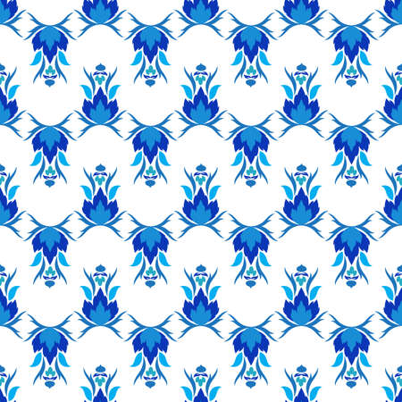 Vintage seamless pattern in Portugal style azulejo in blue and white colors. Vector illustration Illustration
