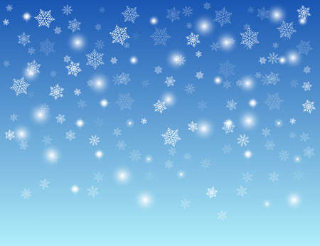 Abstract blue winter background with white snowflakes, vector illustration