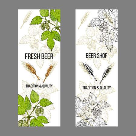 Etichette per birra e birreria, elementi di design con luppolo e orzo