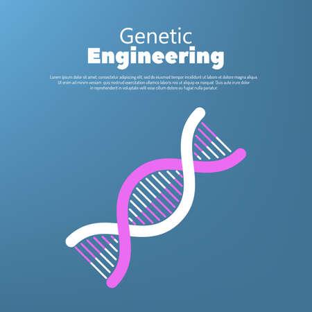 Genetic engineering concept, human genetic code structure Illustration