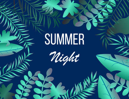 Summer night tropic background with palm leaves Ilustração