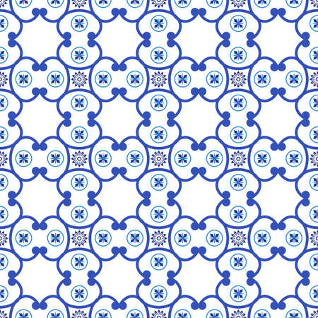 Azulejos portuguese traditional ornamental tile, blue and white pattern. Vector illustration