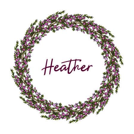 Heather wreath. Hand drawn vector