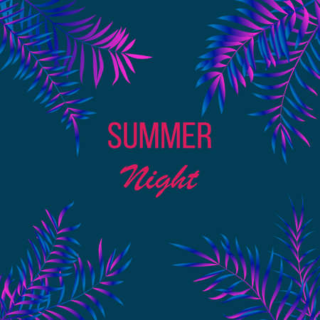 Summer night tropical design with palm leaves