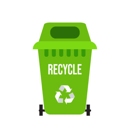 Green recycle garbage bin with sign arrow. Vector illustration