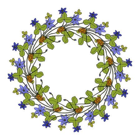 Hand drawing wild herbs wreath - bur-marigold