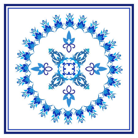 Azulejos portuguese traditional ornamental tile Vector Illustration