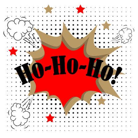 Ho ho ho merry christmas greeting card in comic pop-art style
