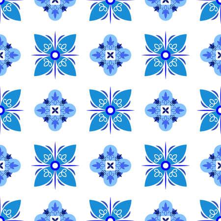 Azulejos portuguese traditional ornamental tile, blue and white seamless pattern Çizim