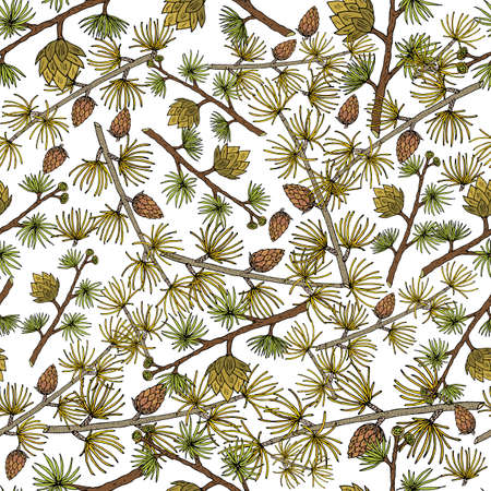 Seamless pattern with golden larch