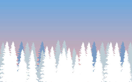 Winter forest with firs in the morning Illustration
