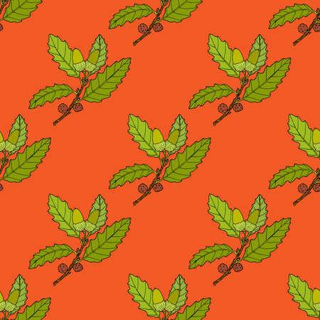 Aleppo oak branch seamless pattern Ilustración de vector