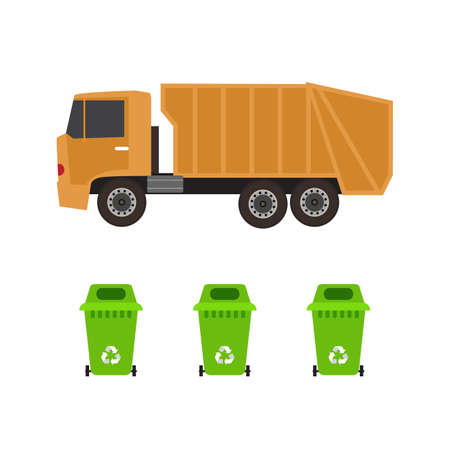 Rubbish truck and cans