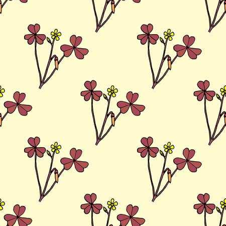 Seamless pattern with creeping woodsorrel, medicinal plant. Vector illustration
