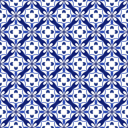 Azulejos portuguese traditional ornamental tile, blue and white seamless pattern. Vector illustration