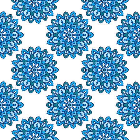 Seamless pattern with round flower mandala in blue colors. Vector illustration Illusztráció