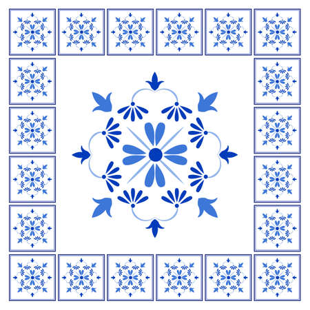 Azulejos portuguese traditional ornamental tile and frame, blue and white pattern. Vector illustration