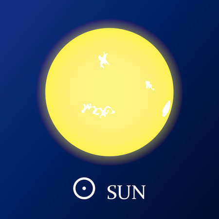 Sun star icon in flat style. Vector illustration